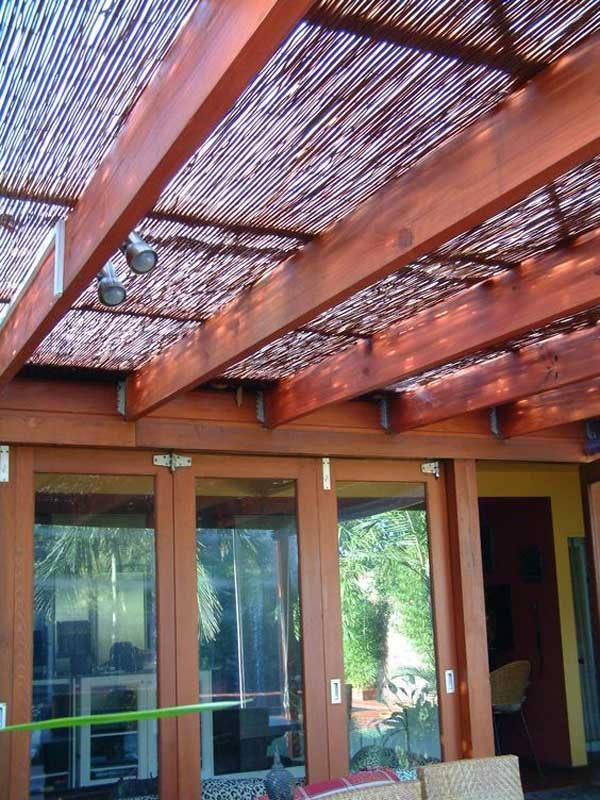 Add Bamboo Shade Cover To Pergola.