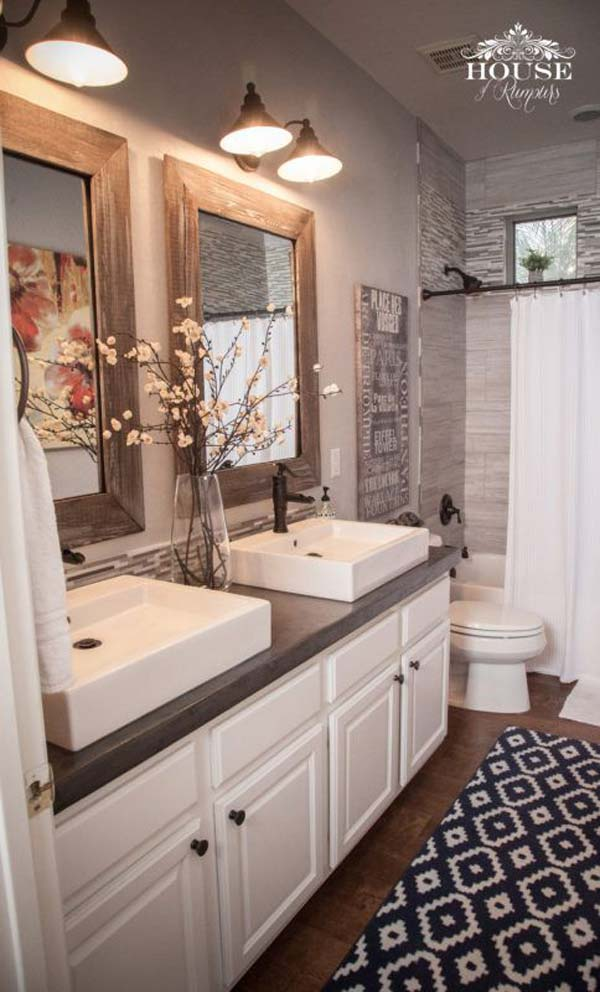 30 Awesome Ideas to Add Rustic Style To Bathroom - Amazing ... on Rustic:s9Dkpzirpk8= Farmhouse Bathroom  id=25167