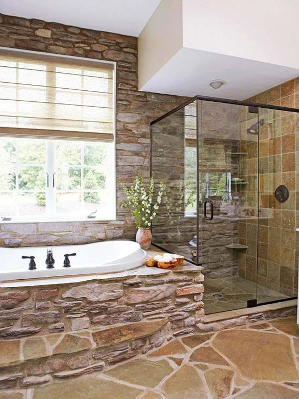 30 Exquisite And Inspired Bathrooms With Stone Walls: 30 Awesome Ideas To Add Rustic Style To Bathroom