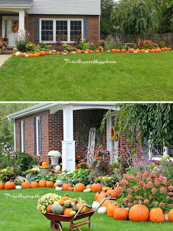 12. Display a large number of pumpkins all around the flower beds of front  yard.