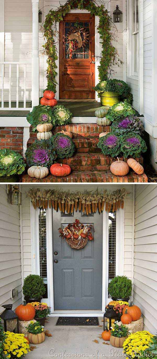 2. Place pair pumpkins with potted kale or hang a corn garland in front  door to create a warm welcome in this harvest season.