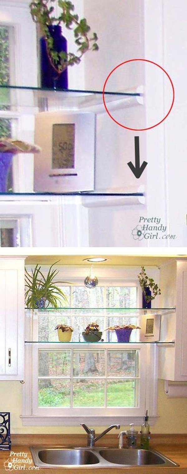 interesting and practical shelving ideas for your kitchen set glass shelves in the kitchen window for display