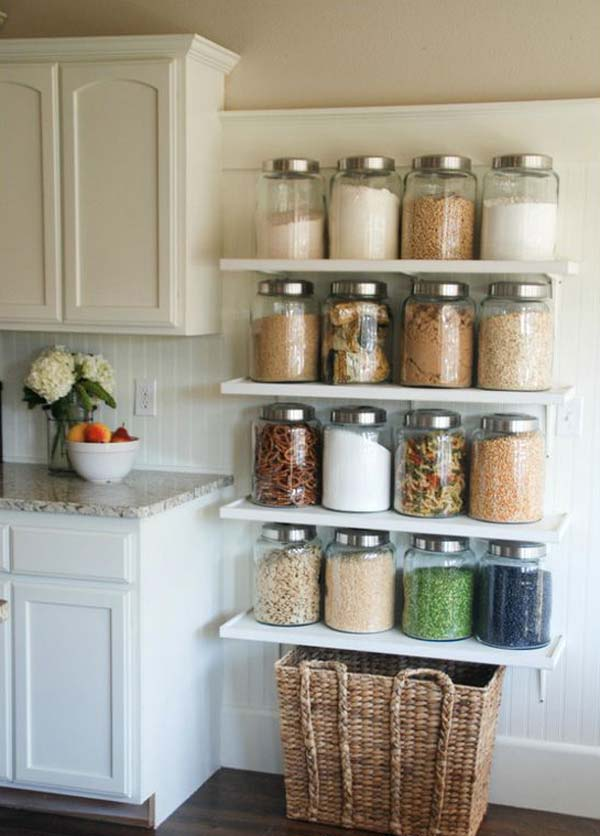 Merveilleux DIY Kitchen Jar Shelves