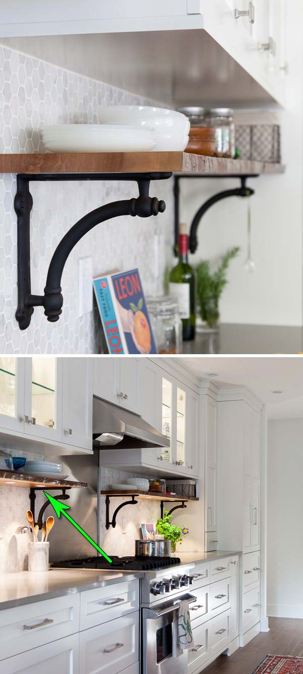 interesting and practical shelving ideas for your kitchen add a level of shelves with built in lighting on the backsplash
