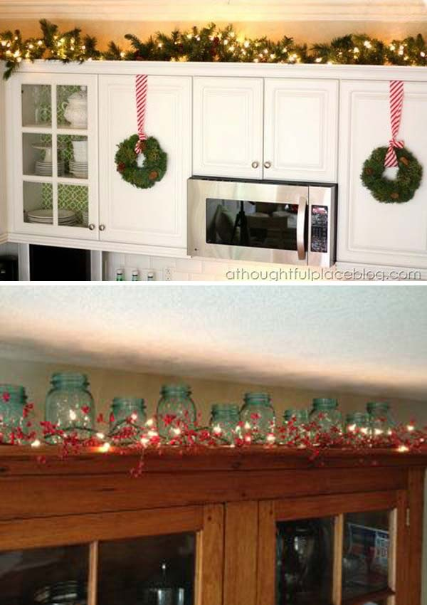 a great spot to display christmas lighting in your kitchen - Christmas Decorations For Kitchen Cabinets