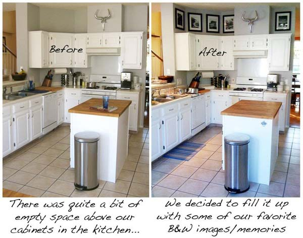 20 stylish and bud friendly ways to decorate above kitchen cabinets 781