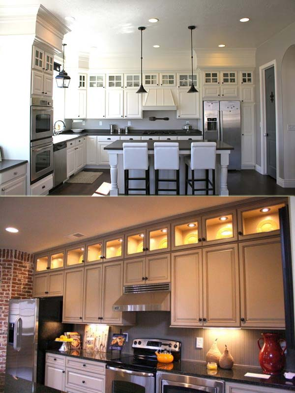 Add Extra Cabinets With Glass Doors And Lighting Above Kitchen Cabinets.