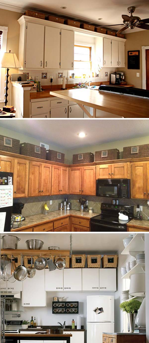 Take advantage of the extra space between the kitchen cabinets and the ceiling to place some baskets to hold bulk items