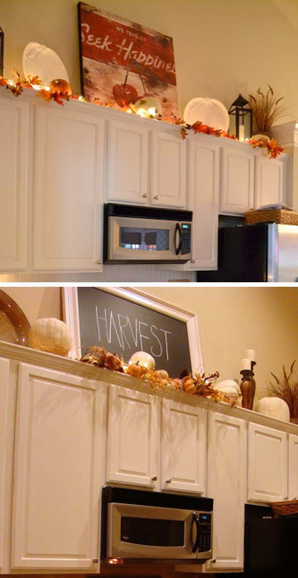 20 stylish and budget friendly ways to decorate above for Budget kitchen cabinet ideas