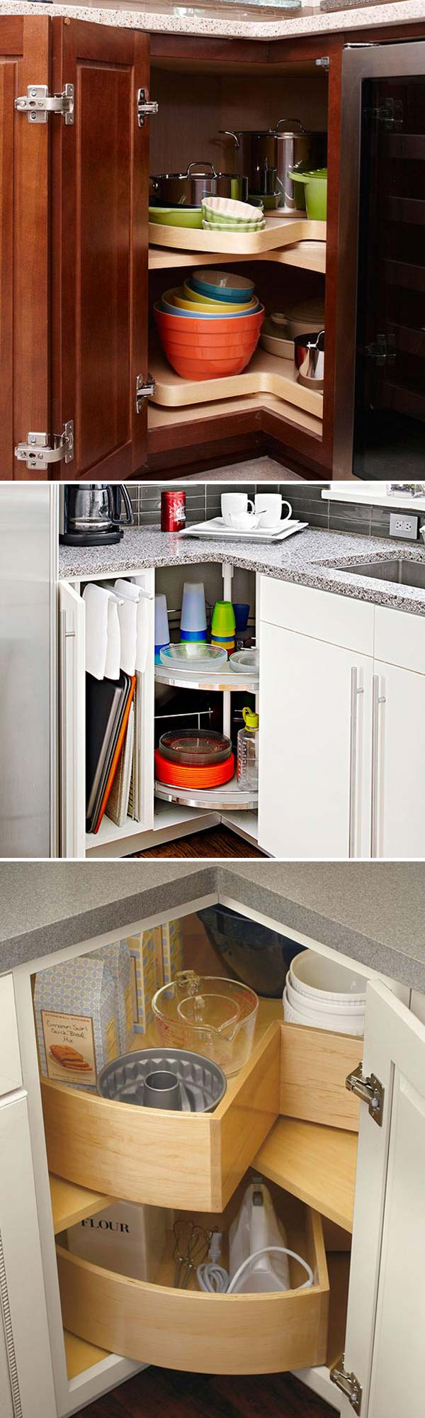 3 install a turntable organizer to steal back lost corner storage space lazy susan can make kitchen items very accessible in that hardtoreach corners