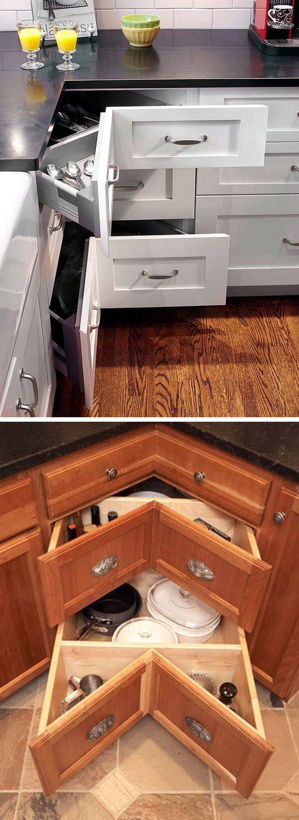 Superbe A 45 Degree Angled Stack Of Drawers Work Well In Awkward Kitchen Spaces  Like Corner Cabinets: