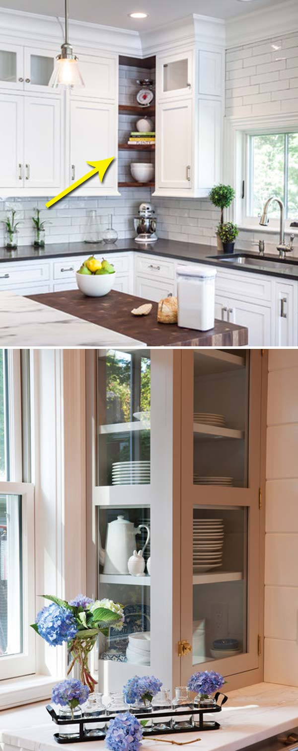 Replace A Corner Cabinet With Glass Gallery Cabinet Or Open Shelve To  Create An Attractive Kitchen Feature: