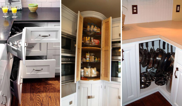 Fabulous Hacks to Utilize The Space of Corner Kitchen Cabinets