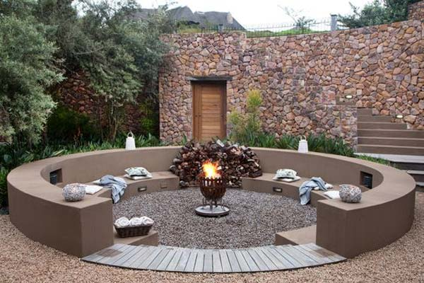 Sunken Patio With Fire Pit