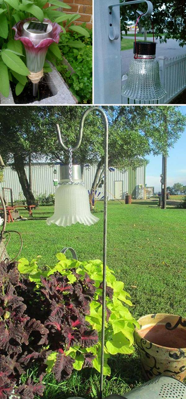 Make a solar light and vintage glass lamp shade combo.