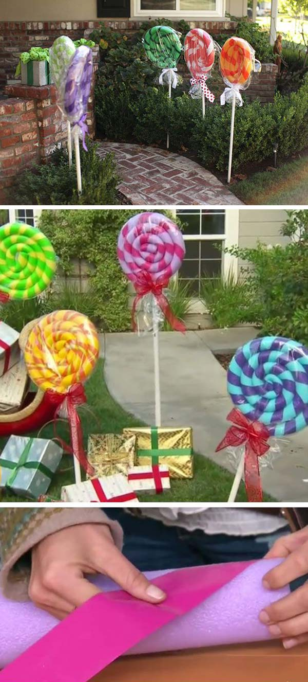 turn your home into a candy house for christmas with pool noodle lollipops