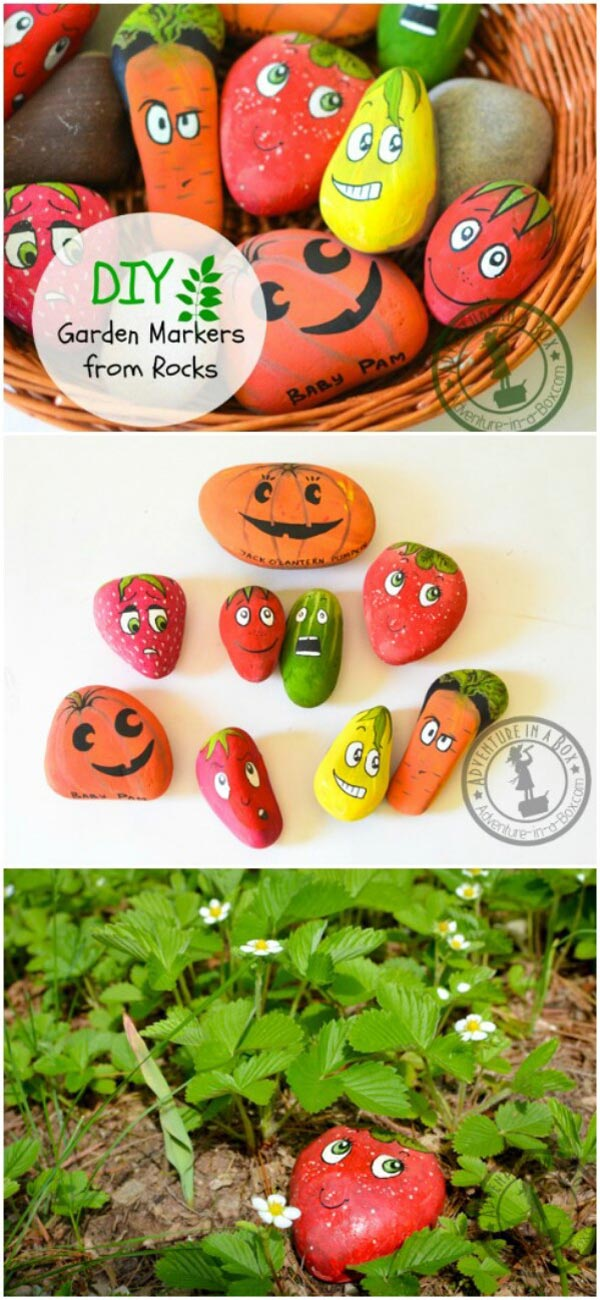 Garden Markers by Painting Stones