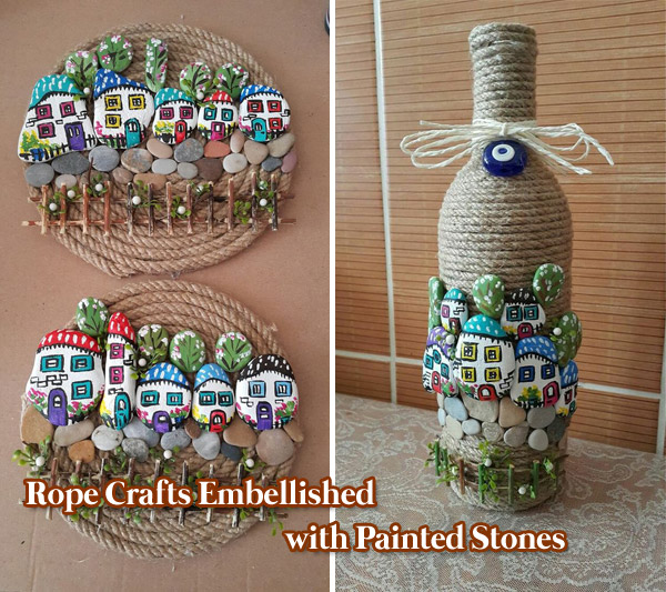 Rope Crafts Embellished with Painted Pebbles