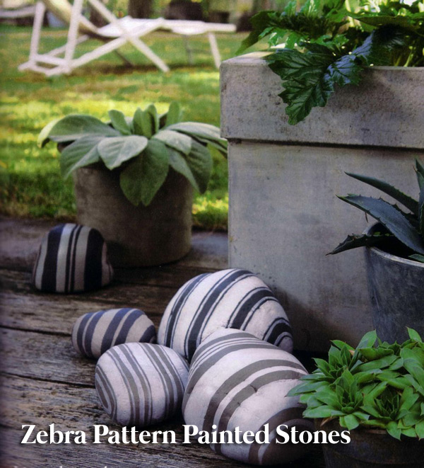 Zebra pattern painted stones
