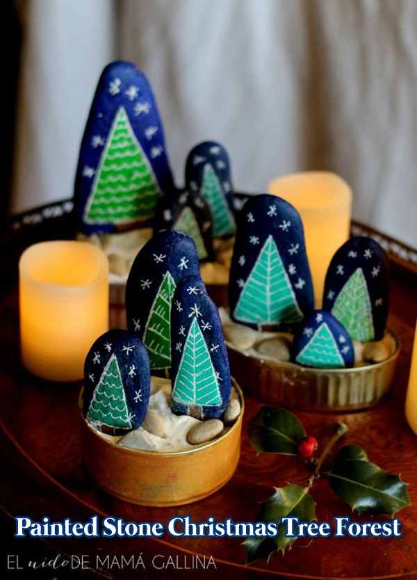 Painted Stone Christmas Tree Forest