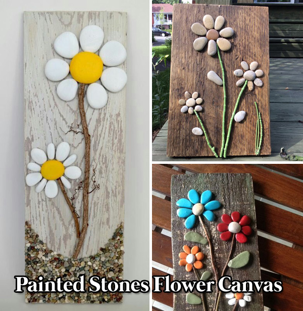 Painted Rocks Flower Canvas