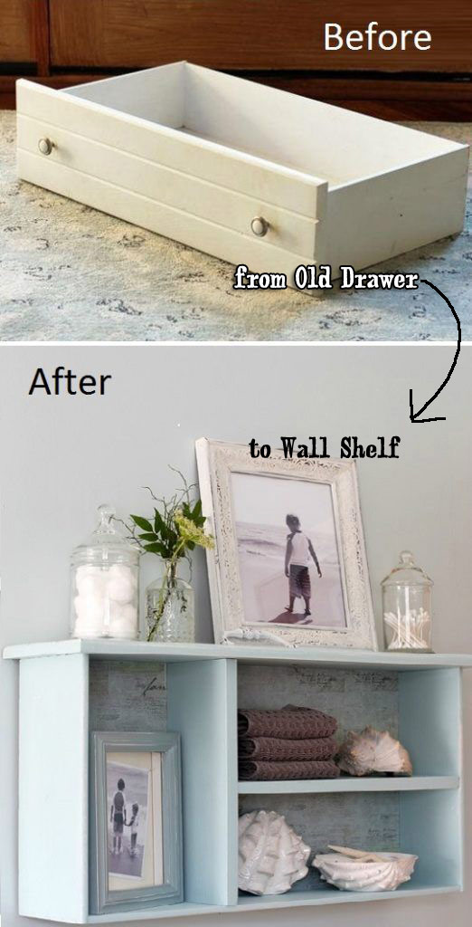 Recycle Old Drawer as Mounted Wall Shelf