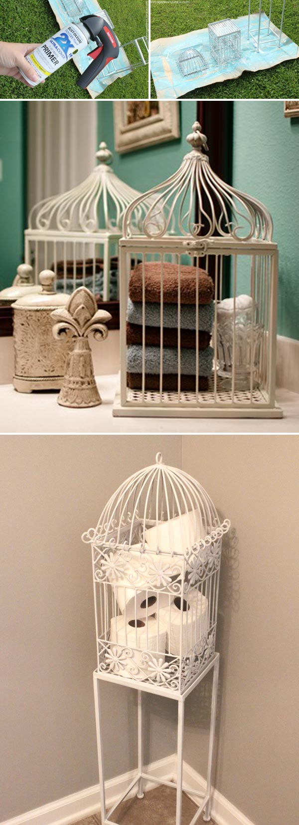 Put a birdcage in your bathroom for creatvie towel or toilet paper storage