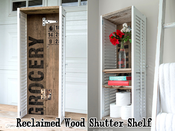 Create a reclaimed wood old sign shutter shelf