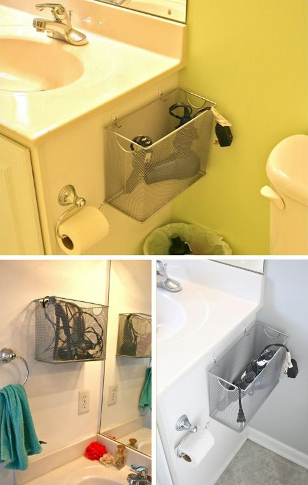 Metal file boxes are great as organizers for your bathroom