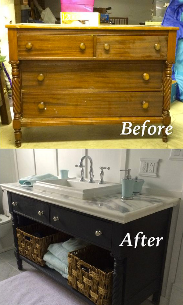 Turn an old dresser into a bathroom vanity by repainting it and covering the tabletop with marble