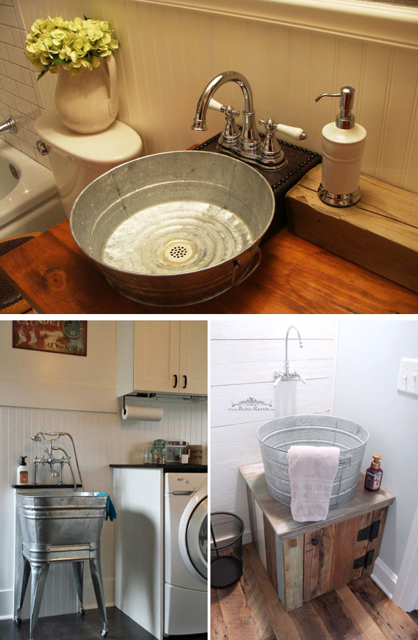 Transform Old Galvanized Tubs into Bathroom Sinks