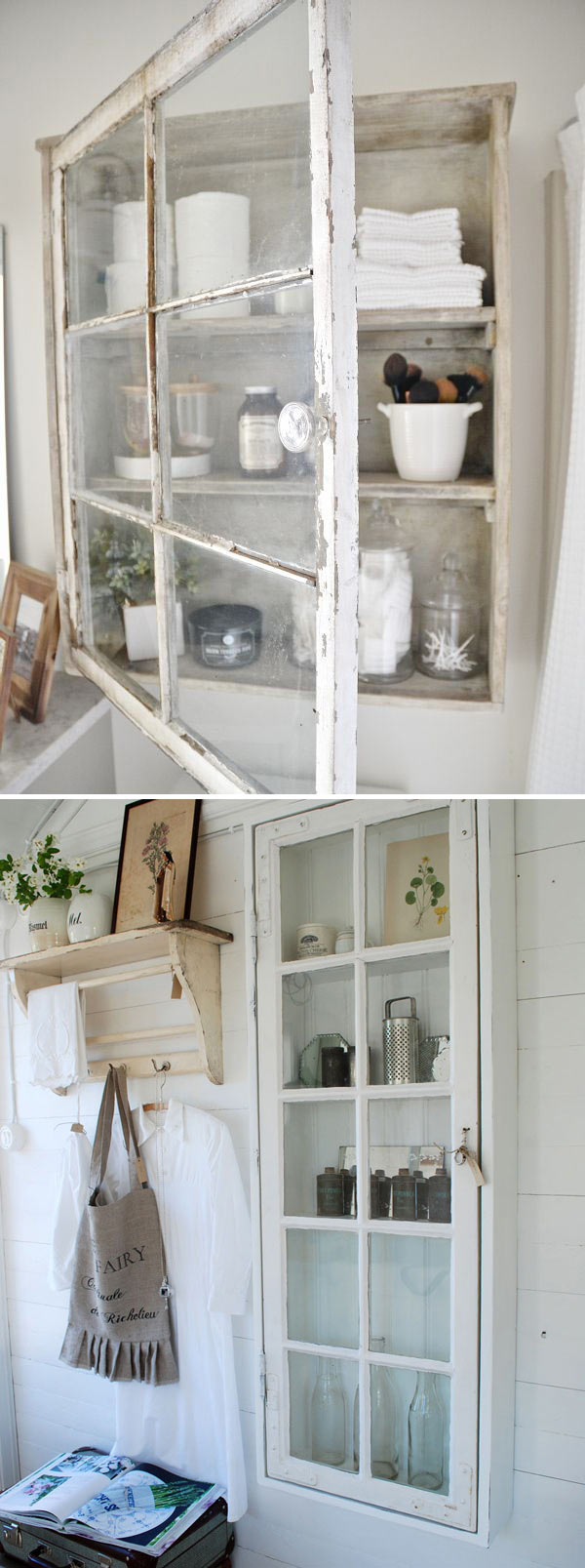 Re-purpose an old window and some boards to build a DIY bathroom cabinet