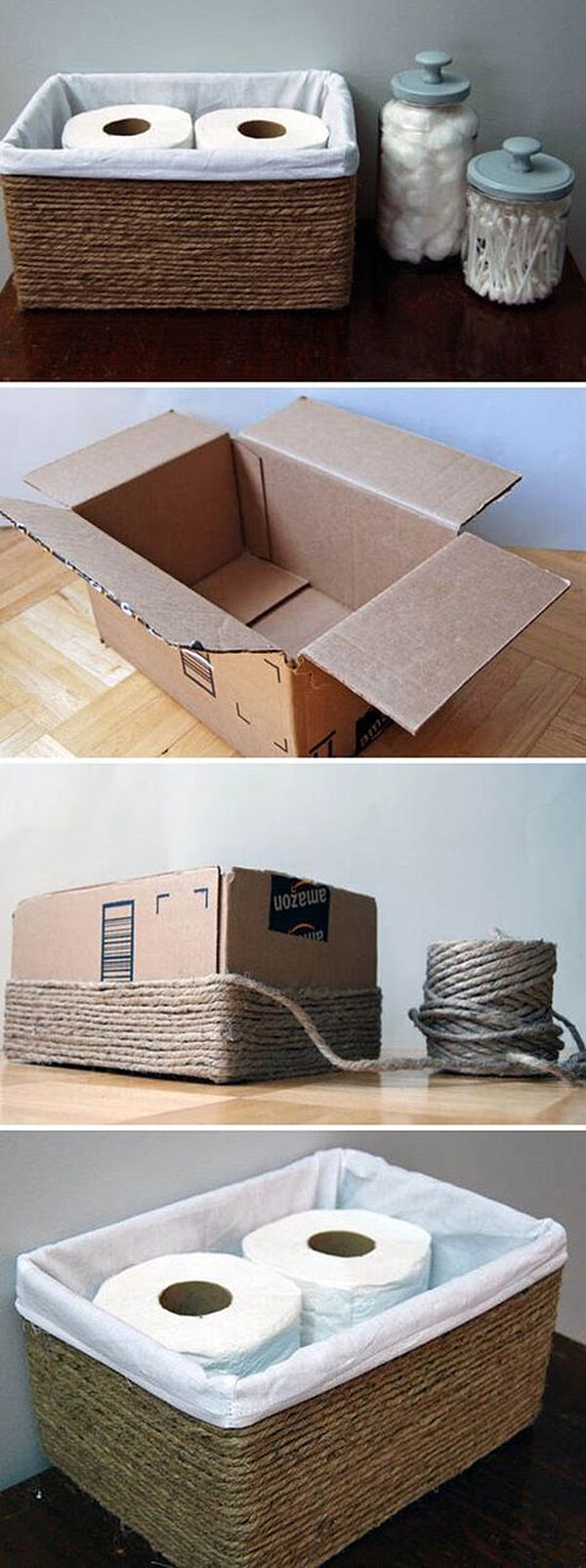 recycle a cardboard box into TP basket