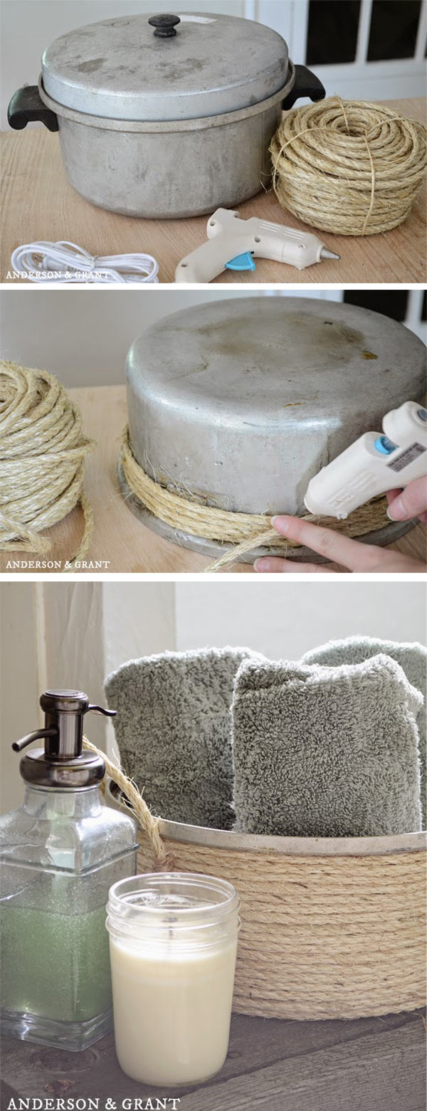 Create a bathroom towel basket with sisal twine and a thrift store pot