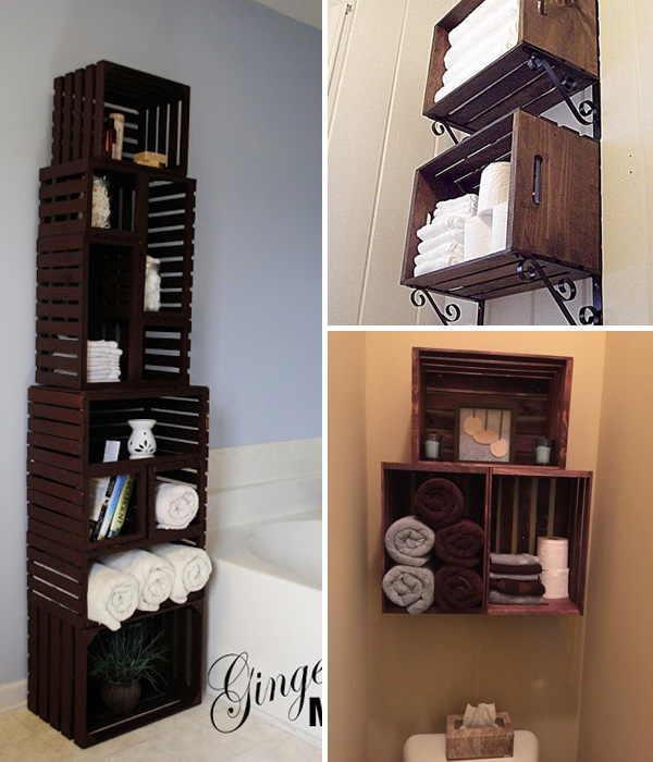 Upcycled Wooden Crates for Bathroom Storage and Decor