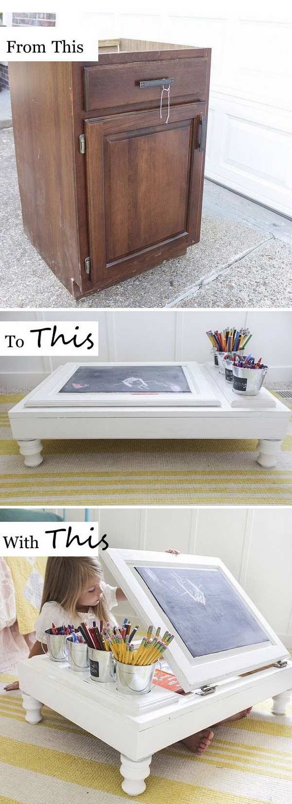 Child's Desk Rebuilt From a Kitchen Cabinet