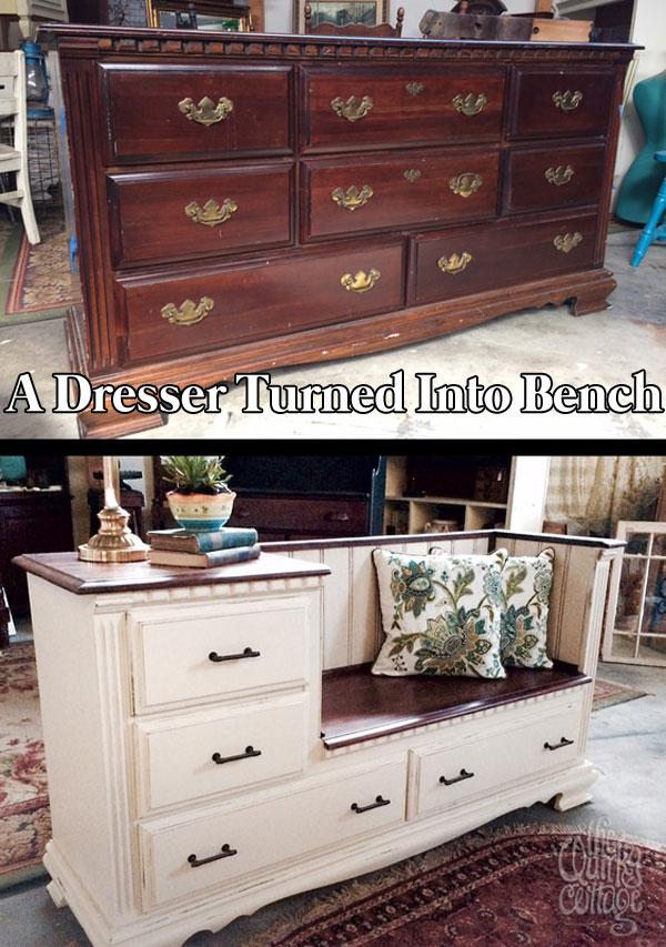 A Dresser Transformed into a Bench