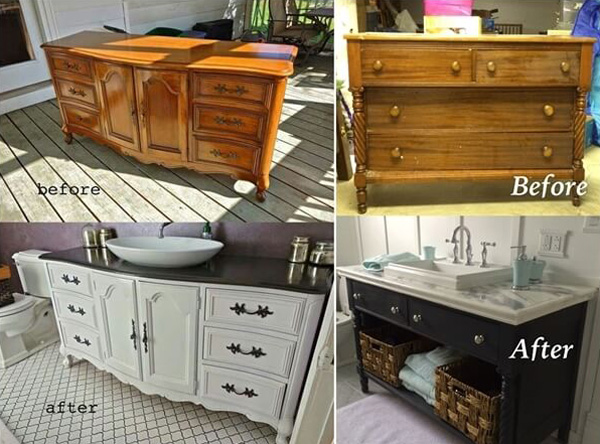 Old Dresser Turn Into a Bathroom Vanity