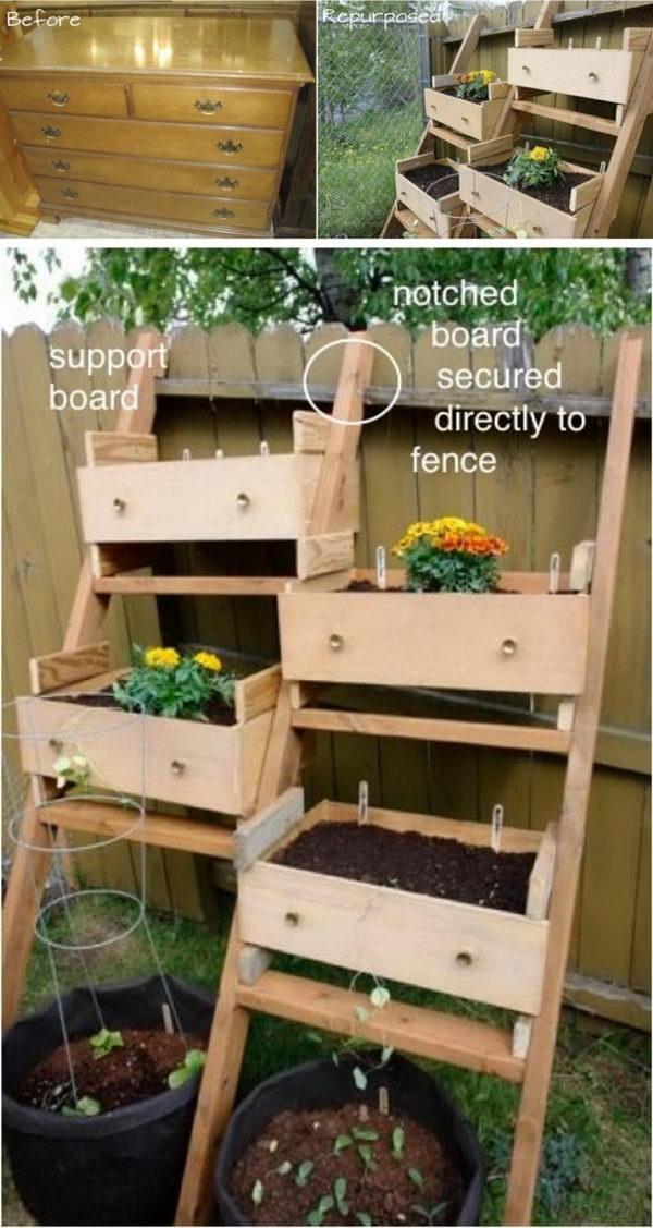 Dresser Drawers into a Veggie Garden