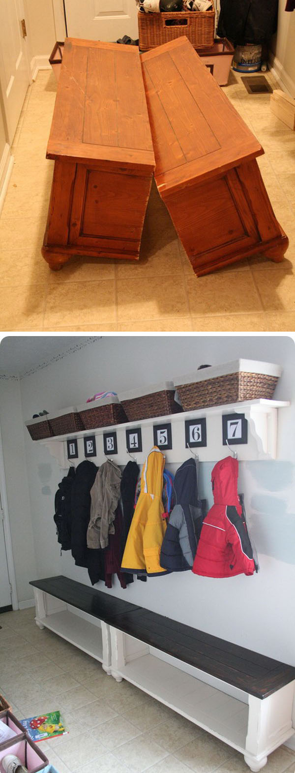 Mudroom Bench from an Old Coffee Table
