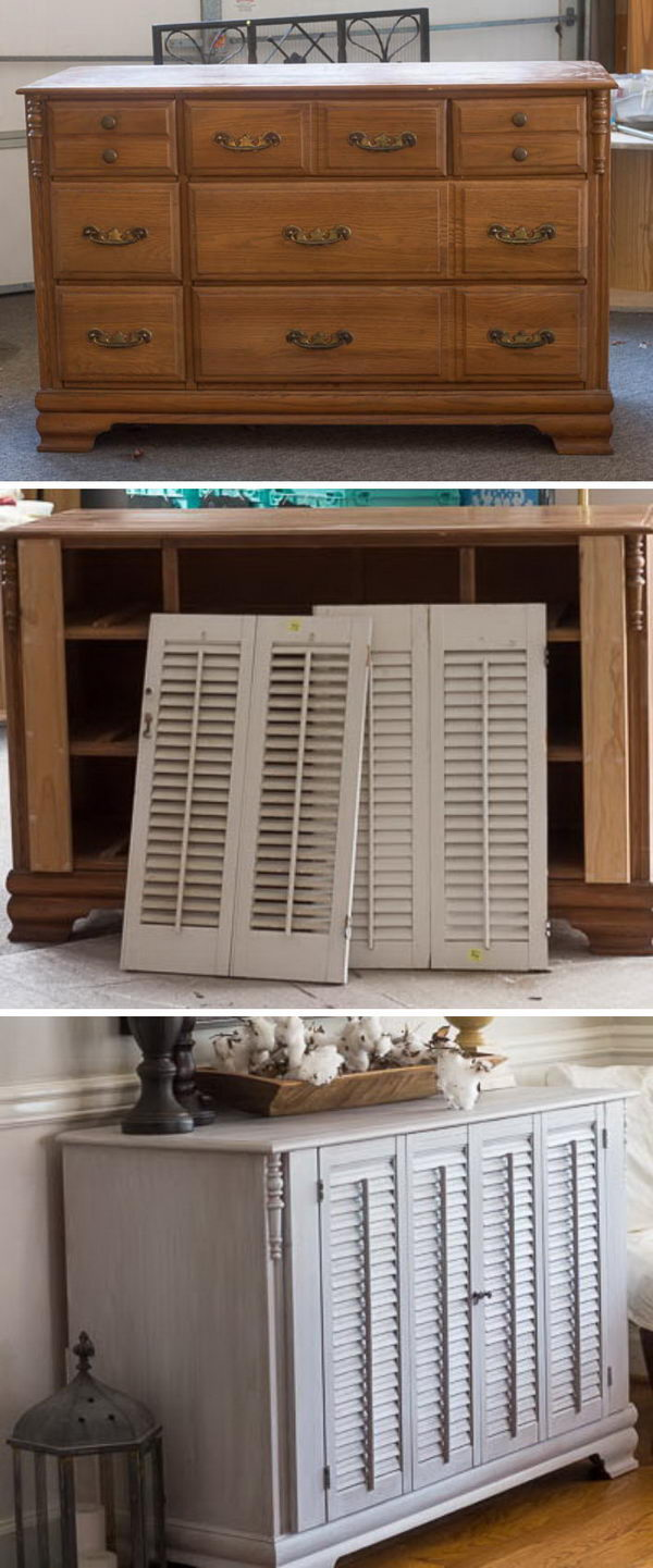 Old Dresser Makeover with Shutters
