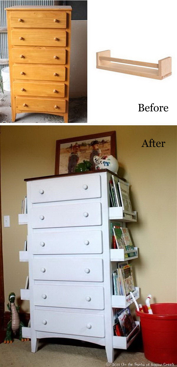 Repurpose Old Drawers To Kids Bookshelves