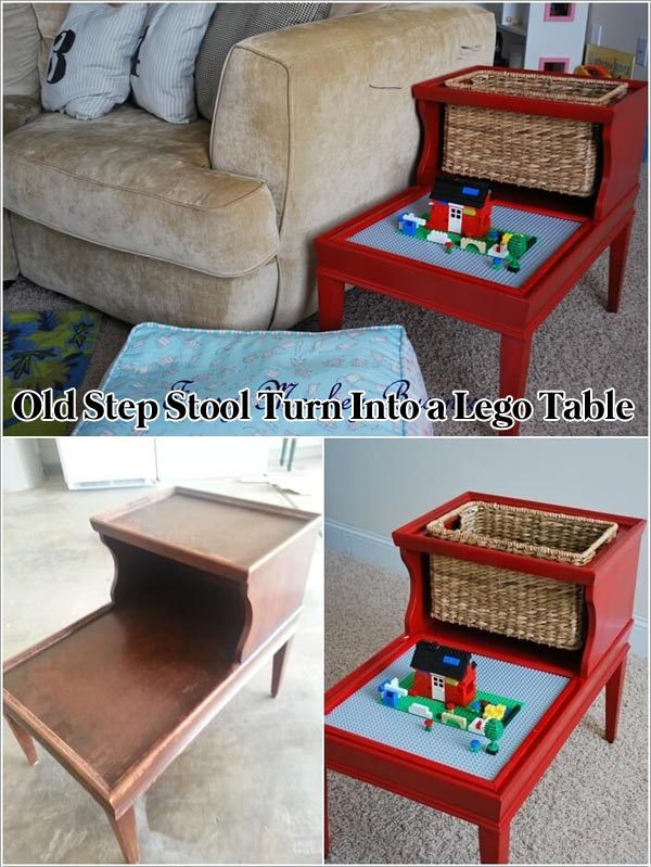 Old Step Stool Turn Into a Lego Table