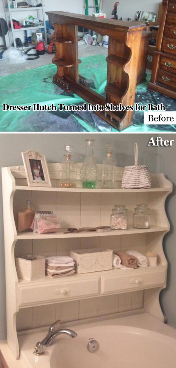Dresser Hutch Turned Into Shelves