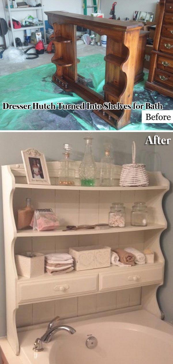 Dresser Hutch Turned Into Shelves