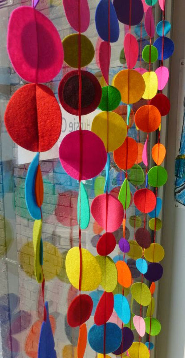 Felt curtain in rainbow colors