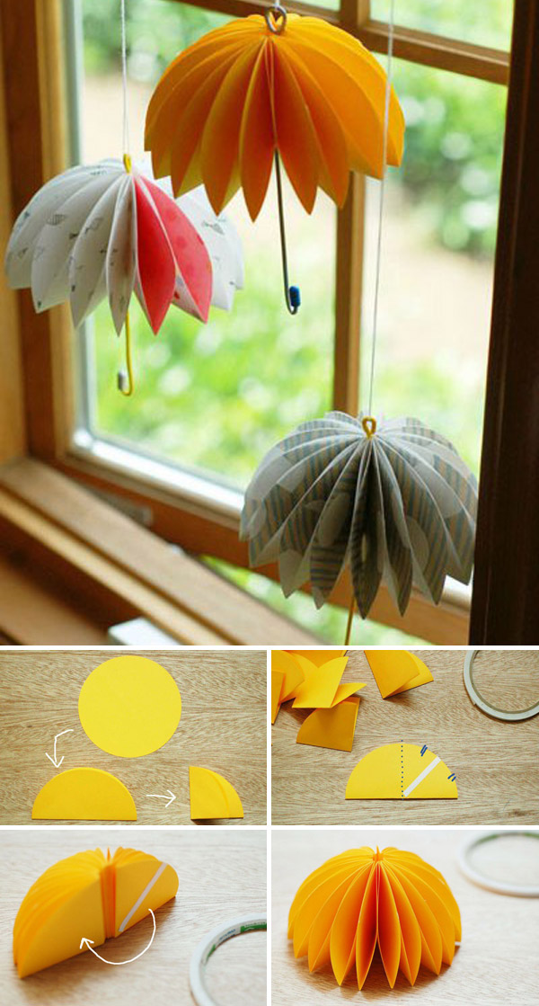 Transform paper circles to hanging umbrellas