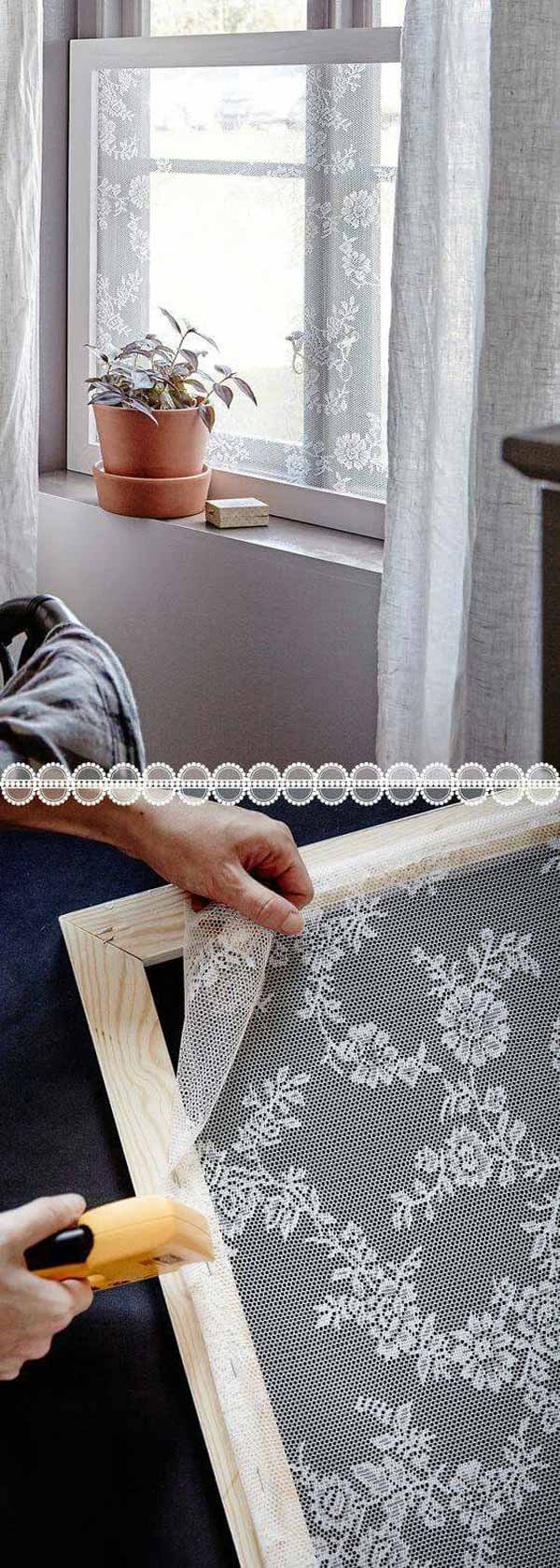 Pretty lace window screen