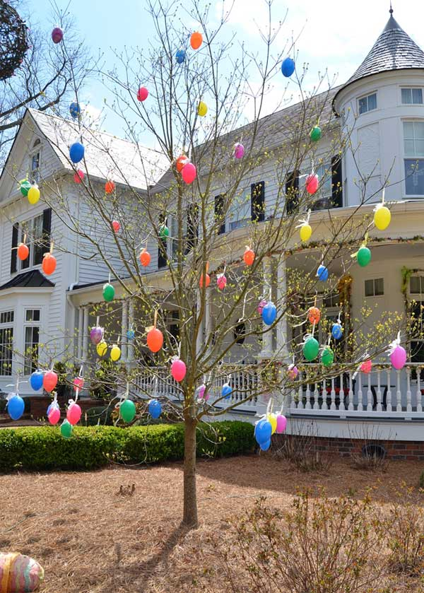 Trees Decorated with Colorful Easter Eggs