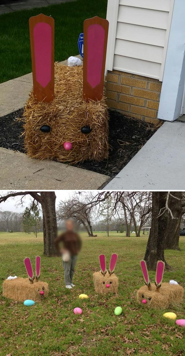 Easter Bunnies Made Out of Hay